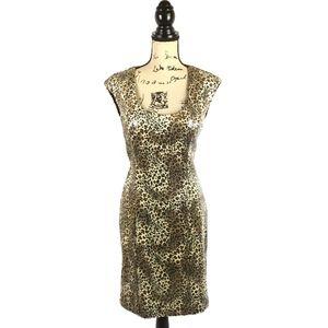 Sue Wong Nocturne Leopard Print Sheath Dress 12